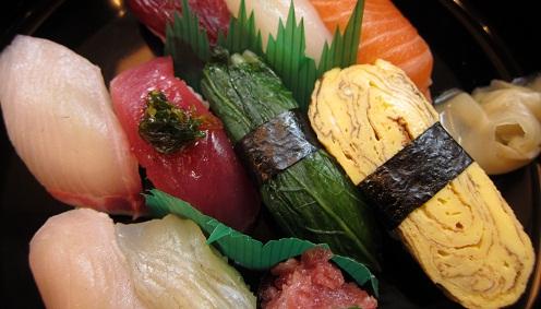 シマアジ、かつお、広島菜、玉子